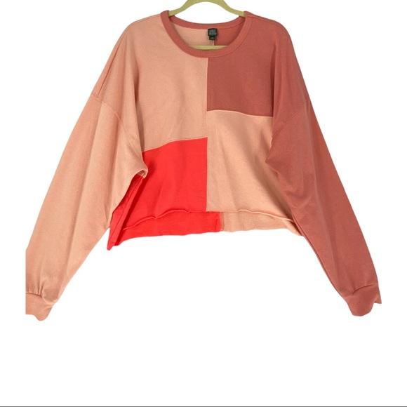 Wild Fable Women's Long Sleeve Crew Neck Cropped Sweatshirt Pink Size 2XL